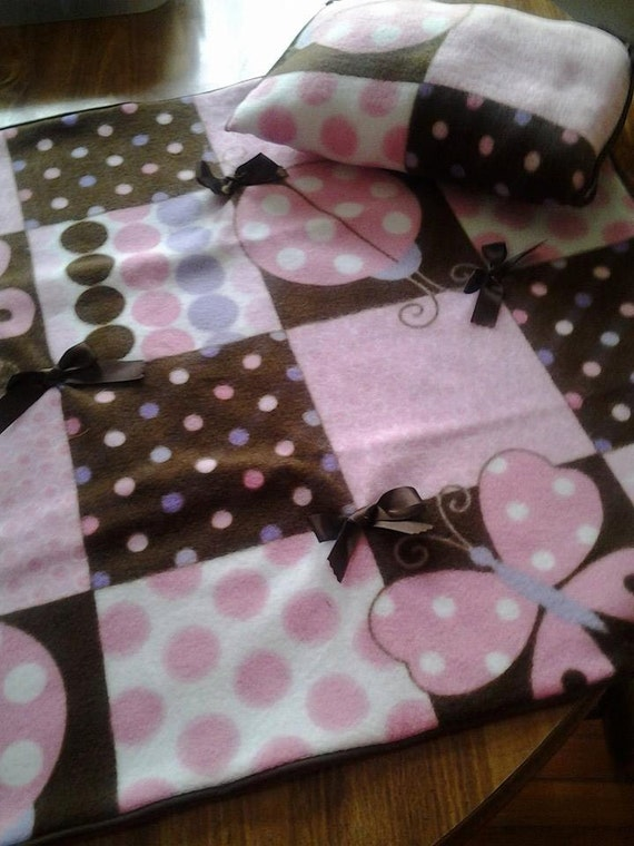 baby girl pink and brown blanket and pillow set. Black Bedroom Furniture Sets. Home Design Ideas