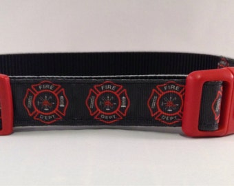 Firefighter Collar in Red &Black