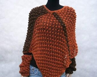 Danak - SET  beautiful, orange,brown colored universal handmade poncho and sleeves