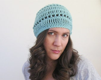 Cotton Summer Beret | Lightweight Beanie Boho Hat | Crochet Spring Hat | Slouchy Beanie | More Colors Available