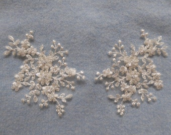 New 2 Ivory/light cream colour Beaded lace appliques for bridal and evening wear