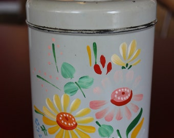 Vintage Ransburg Asters Hand Painted Metal Tin ( small)
