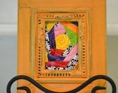 Mini Art Quilt  Small Quilt Framed  Original Abstract Quilt Bright Mini Quilt Small Art Quilt Fiber Art Pam George Quilts