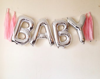 Letter balloon garland with tassels parties babyshower weddings