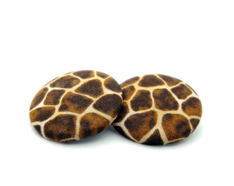 Giraffe print fabric earrings, Animal print fabric, Giraffe jewelry, Giraffe earrings, Brown earrings, Large post earrings