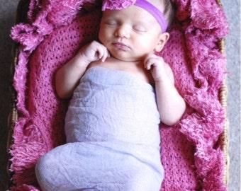 Violet cheesecloth, headband set, newborn photo prop