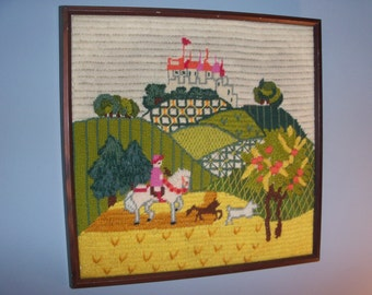 Vintage Fairytale Castle Cross Stitch Playroom Child Room Knitting