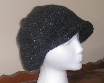 Knitted Newsboy Hat - Constellation (Charcoal Heather With Flecks of Silver Sparkle) - Teen to Adult