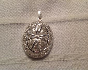 Vintage Sterling Silver Pierced Floral Pendant