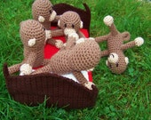 Crocheted Five Monkeys Jumping on the Bed Set