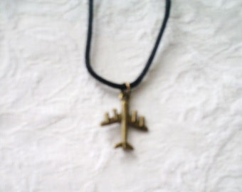 Airplane Necklace / bronze-color airplane / men's jewelry / airplane / boys jewelry /  women's jewelry / plane / jewelry / women /men