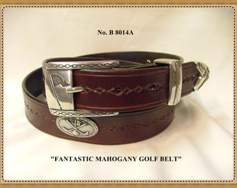 """Handcrafted, Handmade,Hand tooled, Hand Finished  Men's/Women's Golf Concho Belt no. B 8014 - 1_1/8 """" Wide. Finished in Mahogany"""