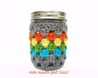 mason jar cozy - grey rainbow - non-slip sleeve - made in your color choice- half pint 8oz - pint 16oz - quart 32oz - handmade by RockinLola