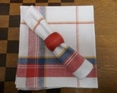 French vintage linen/cotton napkins, woven checked white, red, blue and yellow, set of six