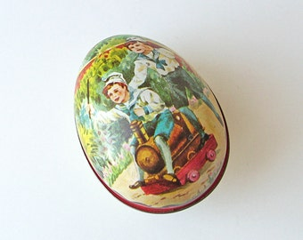 Vintage Easter egg tin, egg shaped tin, Ian Logan egg tin, metal Easter egg, novelty tin box