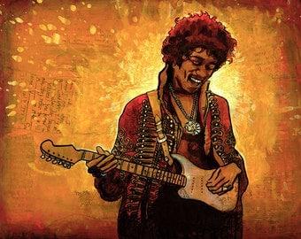 "Jimi Hendrix Guitar Sunburst Abstract Collage Splatter Painting Illustration Fine Art Print 8x10 or 8.5x11"""