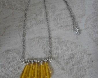 Lemon Yellow Glass Drop Necklace