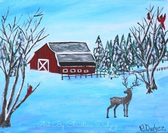 Christmas Painting, Winter Painting, Winter Art Print, Winter Decor, Red Barn painting