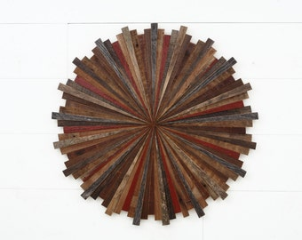Starburst wood wall art, made with old reclaimed barnwood, Different Sizes  Available, Large art, wood wall sculpture