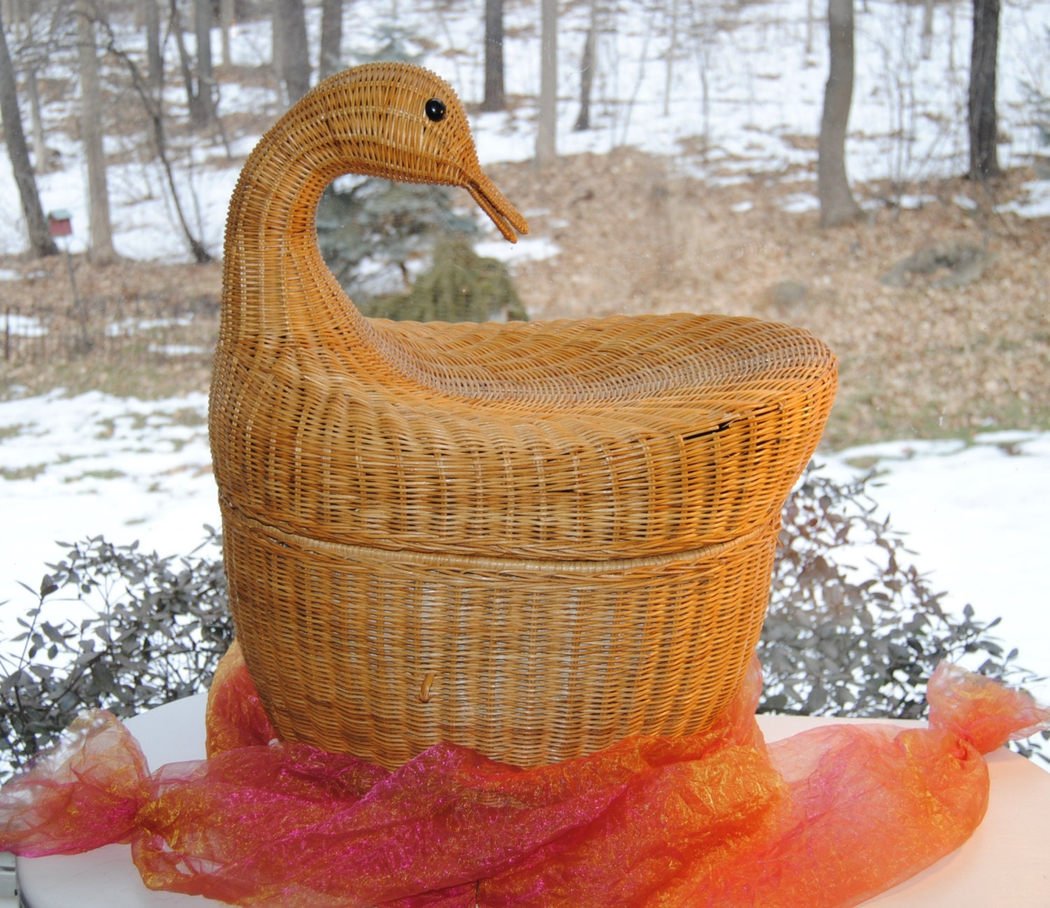 Sale Vintage Picnic Basket Duck Wicker Extra Large And By Ypsa