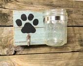 Rustic Pet Station/ PAWesome Leash and Treat Holder/ Shabby Dog Decor/ Barnwood Mason Jar & Hook/ Personalized Pawprint/ Distressed Cascade