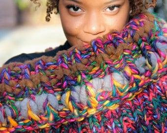 Chunky Cowl, Knit Scarf, Chunky Knit Scarf, Knit Infinity Scarf, Knit Chunky Scarf, Knit Cowl, Knit Chunky Cowl -  Bird of Paradise