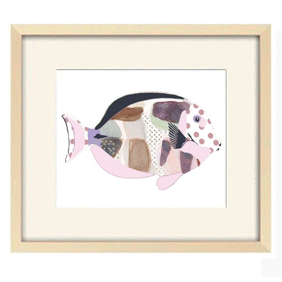 Purple Wall Decor For Bathroom : Purple bathroom wall art fish print mauve decor