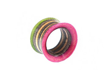 Recycled Skateboard Tunnels, Plugs and Tunnels, Ear Gauges, Broken Skateboards, Wooden Pink Green Tunnel, Wooden Plug Tunnel