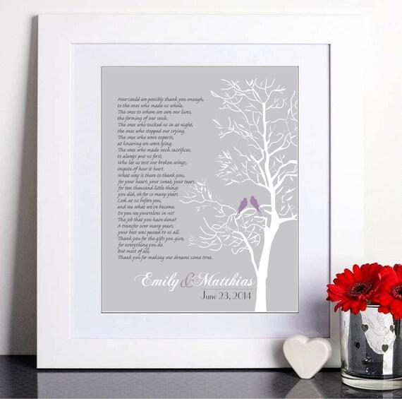 cadeau de mariage de maris parents cadeau cadeau de remerciement mariage art print - Texte Remerciement Mariage Parents
