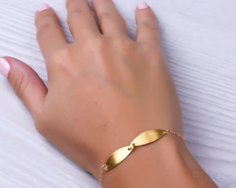 "Gold bracelet, gold leaf bracelet, gold filled bracelet, simple bracelet, bridesmaid bracelet, bridesmaid gift, everyday bracelet, ""Agaue"""