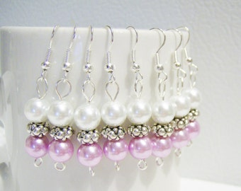 4 Pairs pearl bridesmaids/wedding/girlfriend earrings - set of earrings - wedding bridal jewelry - bridesmaids gifts - soft pink earrings