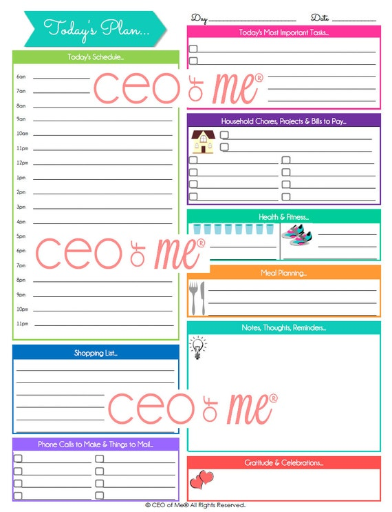Items similar to Printable Daily Planner Pages with Hourly ...