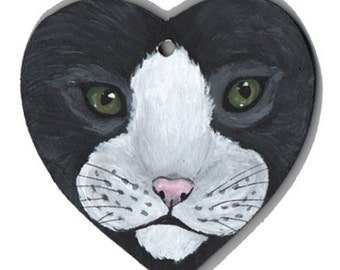 Black and White Cat Wooden Heart