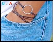 Infinity Circle LEATHER Wrap Bracelet -  Silver Circle Charm Triple Wrap Natural / Distressed / Metallic Leather - Boho Wrap Bracelet - 710