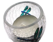 Dragonfly Candle Holder original glass painting