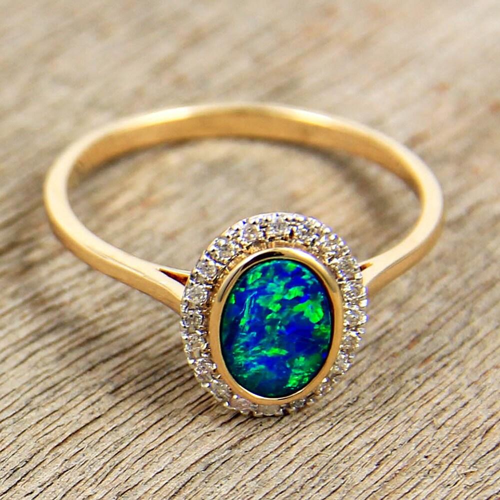 Opal & Diamond Engagement Wedding Ring 14K Gold Natural
