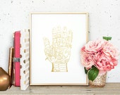 Palmistry Gold Faux Foil Matte Art Print - Gold Office Decor - Girly Minimalist Art - Home Office Wall Art - SKU: 218