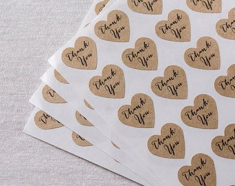 Heart Thank You Kraft Sticker 36 Labels Wedding Favors Gifts Shabby Chic K01