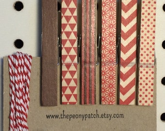 Red and Brown Decorated Clothespin Photo Hangers, Photo String