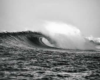 Hawaii Surf Photography Wall Art - Black and White Barreling Wave - Fine Art Photography Print Available in Various Sizes 8x10, 8x12, 11x14+