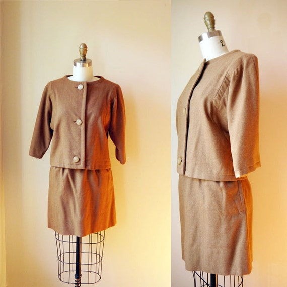 1960s mini skirt sweater combo // camel // vintage wool dress suit