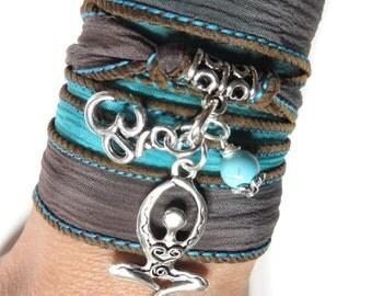 Bohemian Goddess Silk Wrap Bracelet Om Yoga Jewelry Wrap Bracelet Turquoise Namaste Spiritual Jewelry Meditation Bracelet Birthday Gift