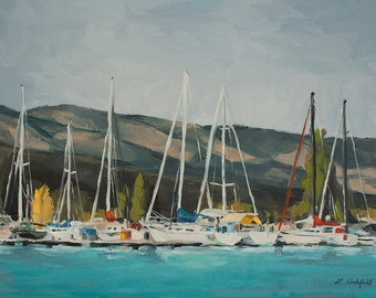 Art card print- Docked-   by Lauriann Wakefield  of the Marina at Bear Lake