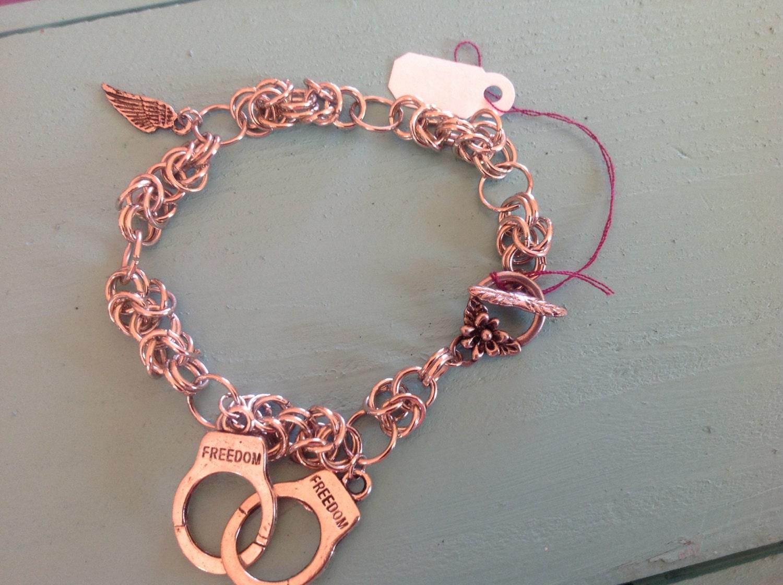 freedom handcuff charm bracelet