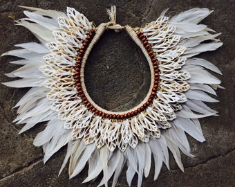 White feather and cut shell necklace