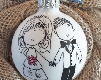 Wedding Gift, Engagement Gift, Wedding, Bride Groom Gift, Couples Gift, Personalized Wedding Ornament, Personalized Engagement Ornament