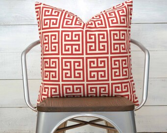 "SALE!!! Red Pillow Cover, Greek Key Pillow Cover, Throw Pillow, Decorative Pillow 22"" x 22"""