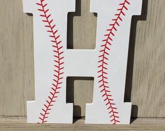 "Large 13"" Boys Baseball Decorative Wooden Wall Letter"