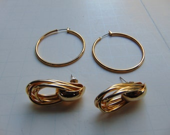 Vintage Gold Tone Earrings - Hoops and Post