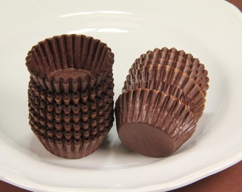 "200x  #6 1.25"" Paper Liners Candy Nut Chocolate Cookie Cup Baking Cups Brown"